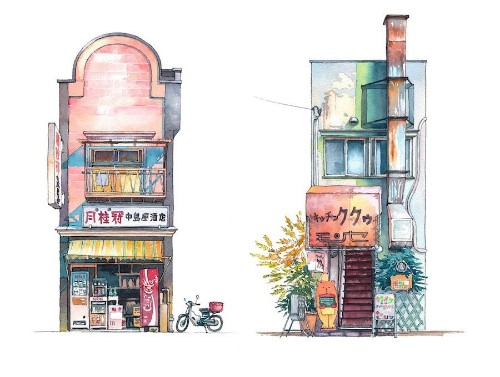 Colorful Watercolor Paintings Immortalize Tokyo's Historical Storefronts