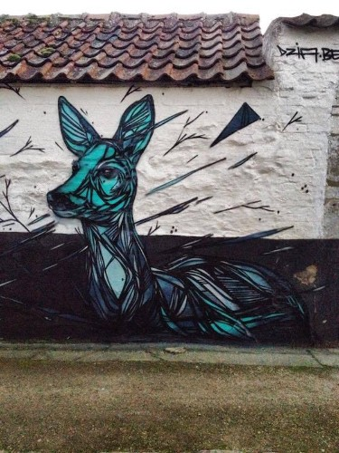 Stunning Animal Street Art Made with Geometric Lines by Dzia