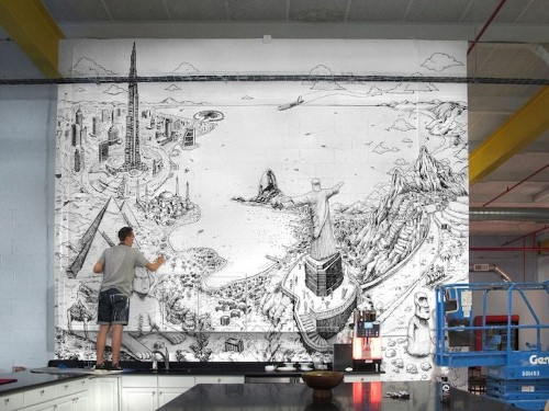Artist Covers Entire Walls With Incredible Large Murals of Cities Around the World