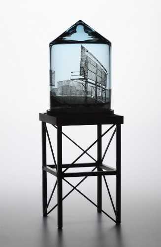 Delicate Glass Water Towers Feature Everyday Urban Scenes
