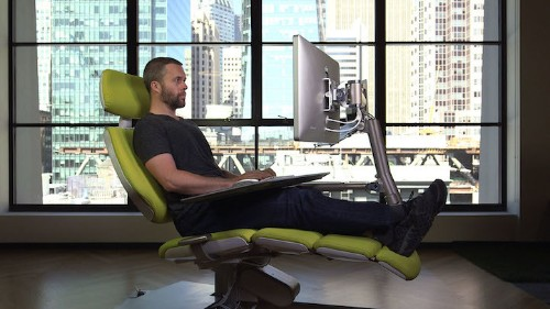 Futuristic Desk and Chair Station is Fully Adjustable For Working While Lying Down