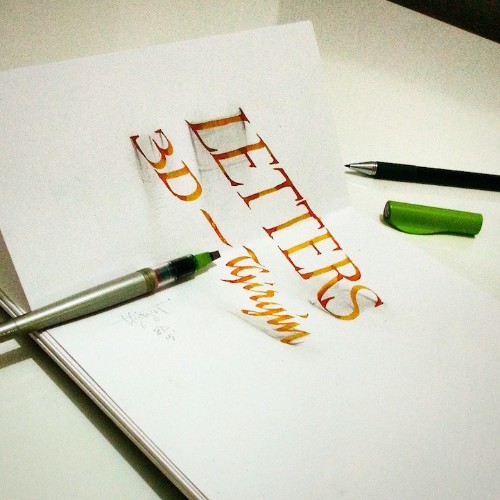 New Beautifully Scripted 3D Calligraphy Illusions by Tolga Girgin