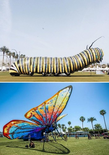 Giant Moving Caterpillar Transforms Into Beautiful Butterfly at Coachella