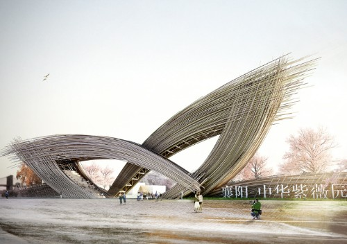 Sweeping Bamboo Gate Simulates Calligraphy Brushstrokes