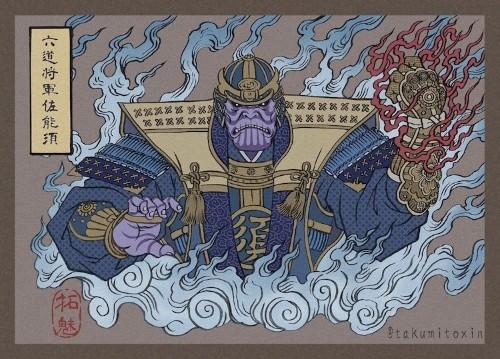 Illustrator Reimagines Avengers Endgame Characters as Ukiyo-e Japanese Warriors