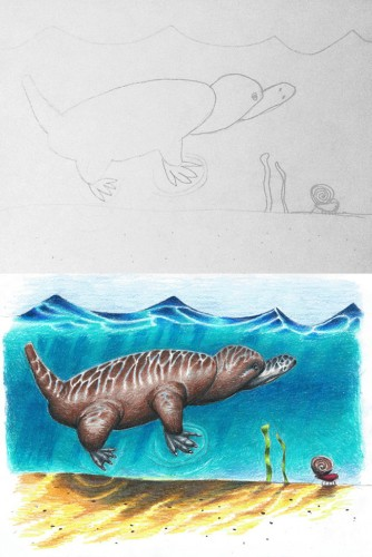 Artist Dad Delightfully Colorizes His Kids' Whimsical Drawings