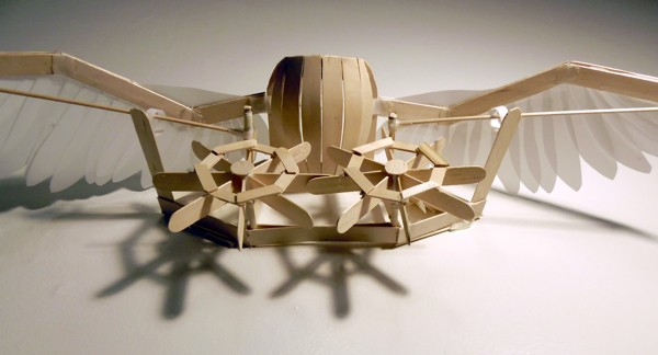 Kinetic Sculpture Replicates a Bird Flapping Its Wings Using Popsicle Sticks