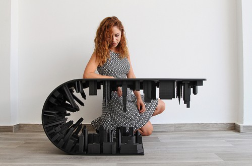 Gravity-Defying 'Inception' Coffee Table Suspends a City Skyline Over Itself