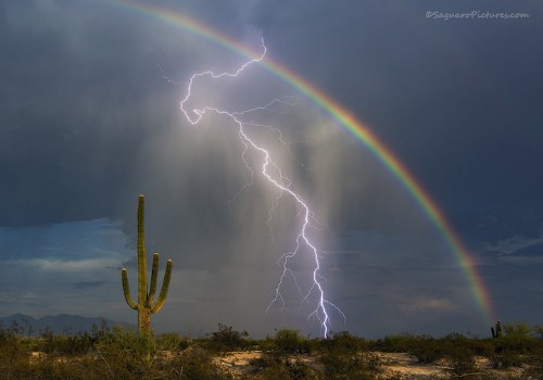 Photographer Captures a Rainbow and Lightning Bolt in One Incredible Shot