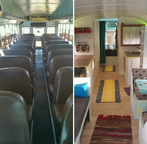 Father and Son Convert Old School Bus into Mobile Tiny Home for Cross-Country Road Trip