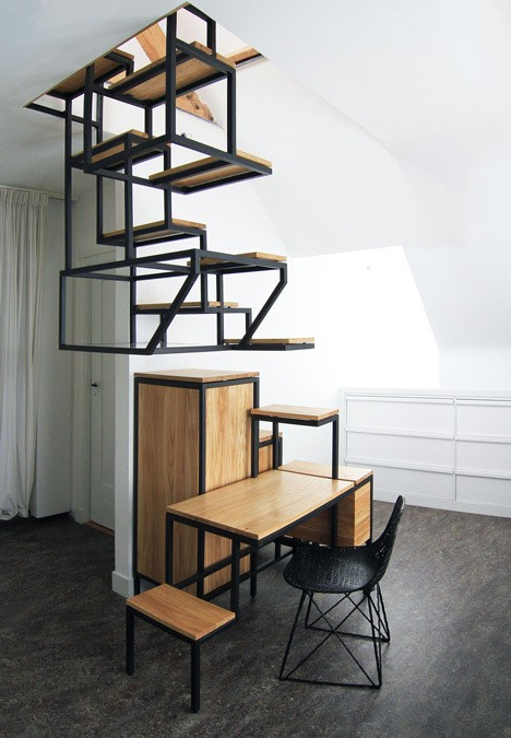 Innovative Suspended Stairs Double as All-In-One Workspace