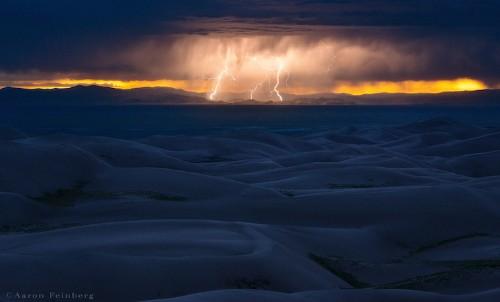 Beautiful Lightning Strikes Over Sand Dunes