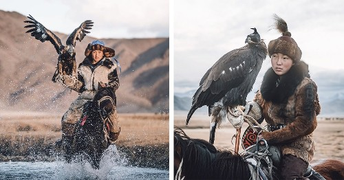 Photographer Captures One of the Last Surviving Female Eagle Hunters of Mongolia