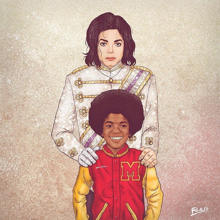 Past and Present Versions of Iconic Figures in Side-by-Side Illustrations