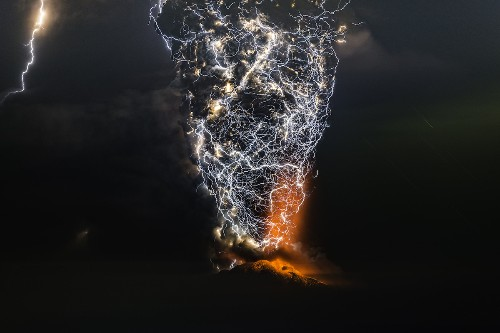 Incredible Photos Capture Powerful Lightning Storms Over Volcano Eruptions