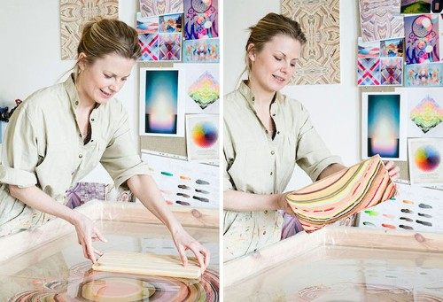 Designer Uses Mesmerizing Water Technique to Create Marbled Multicolor Floors