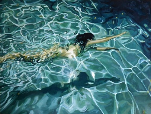 Soothing Paintings of a Swimmer Gliding Through the Water