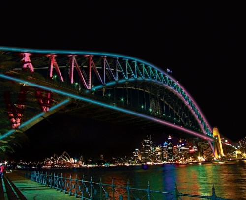 100,800 Colorful LED Lights on Sydney's Harbour Bridge