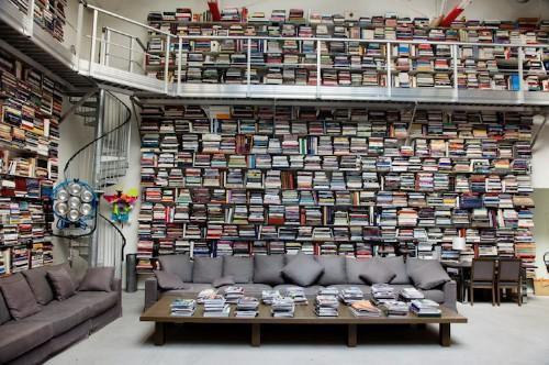 Karl Lagerfeld Has Arranged His Floor-to-Ceiling Library Sideways