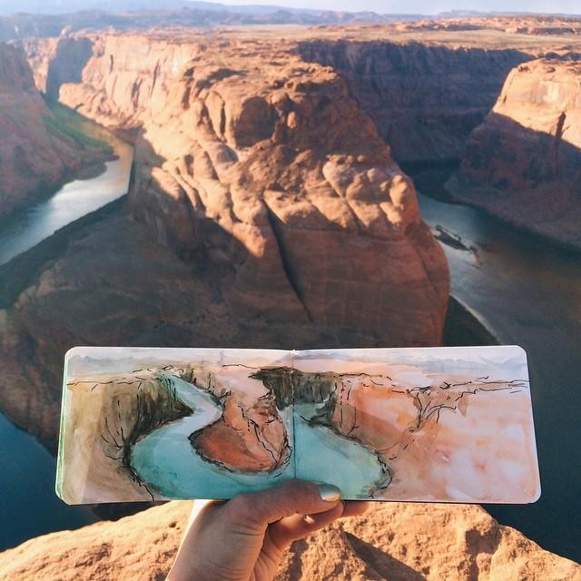 Art Teacher Paints Watercolor Landscapes Using Water Found at Her Destinations
