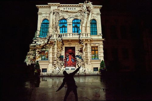 Dancing House: Interactive Projection Mapping Crumbles House to Movement