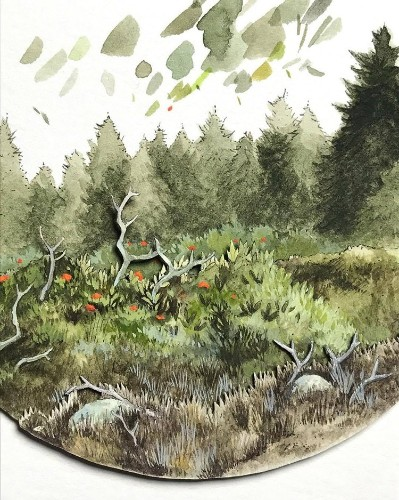 Artist Creates Multi-Layer Watercolor Paintings of Enchanting Forests