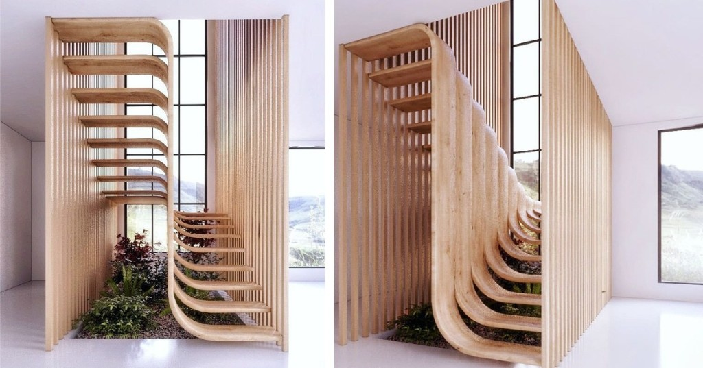 Modern Staircase Resembles a Strand of DNA Twisting Inside of a Two-Story Home