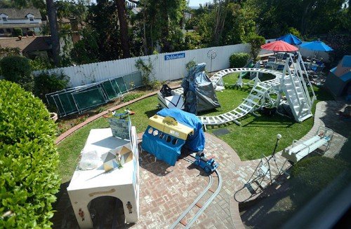 Engineer Grandfather Turns His Backyard Into an Amusement Park for His Grandkids