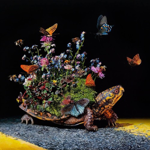 Hyperrealistic Paintings of Migrating Animals Carrying Tiny Ecosystems on Their Backs