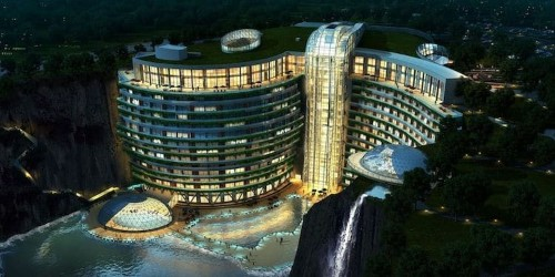 Shanghai Hotel Submerged in Abandoned Quarry Opens to the Public