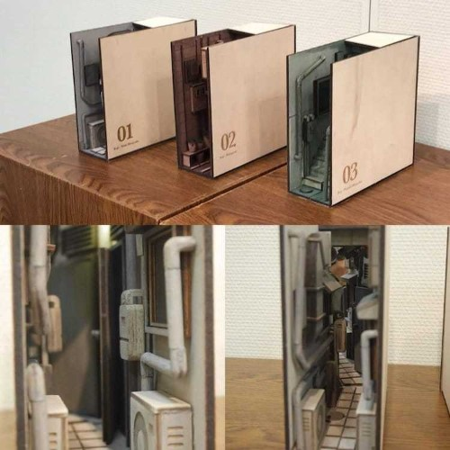 Wooden Bookends Transform Shelves Into Mini Back Alleys of Tokyo