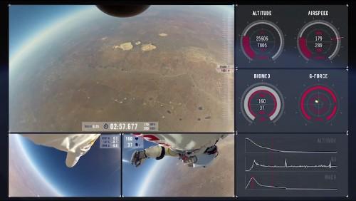 Multi-Camera View of Felix Baumgartner's Record-Breaking Space Jump