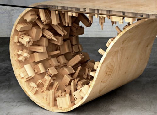 """New """"Inception"""" Dining Table Designed with Gravity-Defying and Curving Cityscape"""