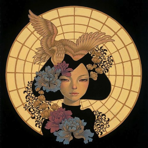 First Look: Audrey Kawasaki's Gorgeous Wood Panel Paintings