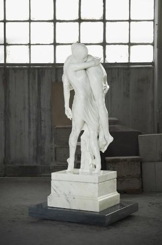 Stunning White Marble Sculpture: Ballerina and a Boy