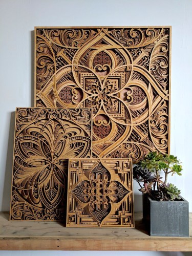 Mesmerizing Laser-Cut Wood Sculptures Feature Layers of Intricate Patterns