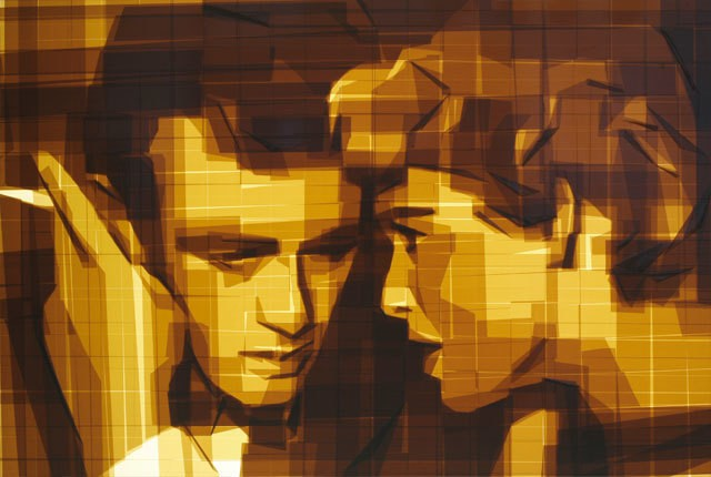 Old Hollywood Moviestars Made from Layers of Packing Tape