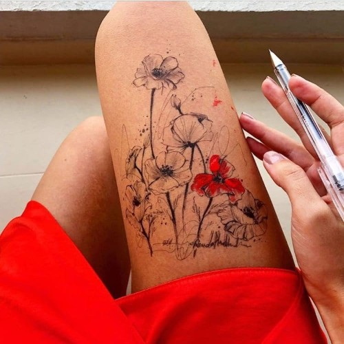 Artist Uses Her Own Thigh as a Canvas for Stunning Ink Drawings