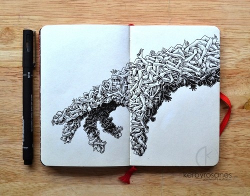 New Spectacular Moleskine Doodles That Explode with Energy by Kerby Rosanes