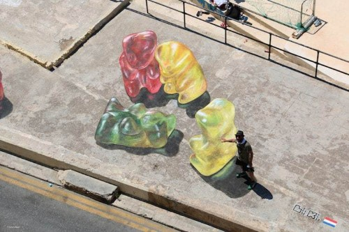 Giant 3D Paintings of Gummy Bears Cleverly Interact with People Passing By