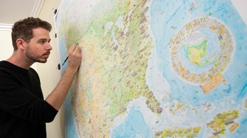 Artist Spends 5 Years Drawing Giant Colored Pencil Map of North America
