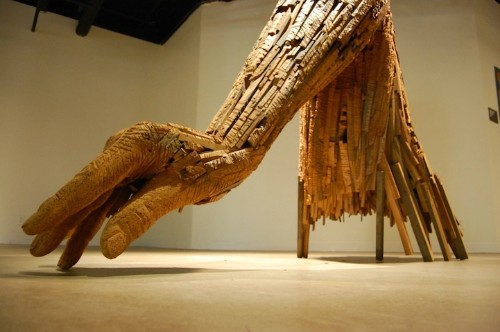 Giant Sculptural Hands Formed from Pieces of Reclaimed Wood