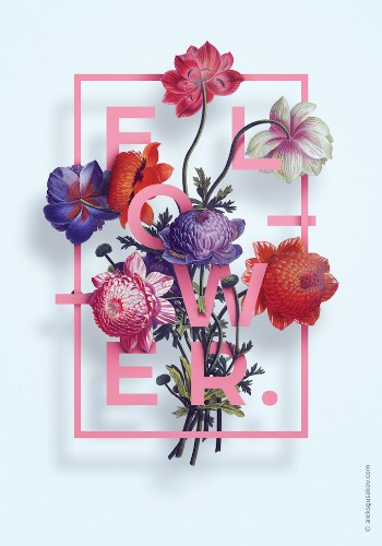 Beautiful 3D Posters Weave Letters with Hand-Drawn Blooms
