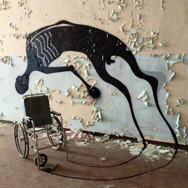 Painted Shadows in an Abandoned Psychiatric Hospital
