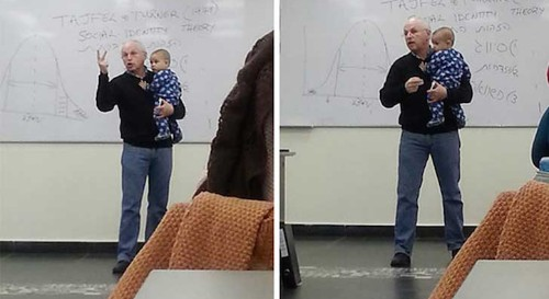 Amazing Professor Soothes Student's Crying Child in Class While Giving a Lecture