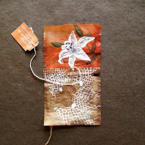 Artist Uses Soggy, Stained Tea Bags as Canvas for Detailed Daily Art