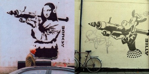Iconic Banksy Art Gets Parodied with Famous Cartoon Characters