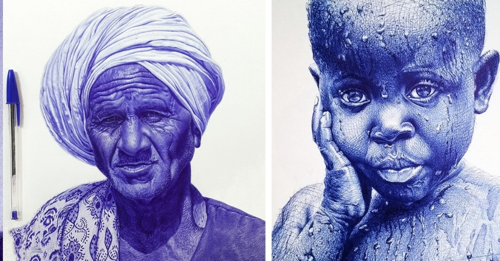 20+ Unbelievable Photorealistic Portraits Drawn with a Ballpoint Pen