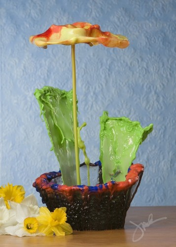 Perfectly Timed Splashes of Liquid Look Like Potted Flowers