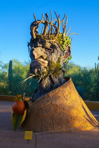 Fantastical Heads Made of Trees and Flowers Represent the Four Seasons